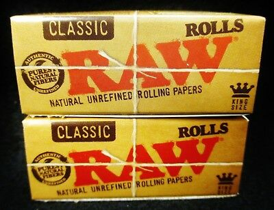 2 Boxes of Raw Classic King Size Natural Unrefined 3 Meter Rolls Rolling Papers