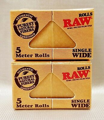 2 Boxes Raw Classic Single Wide Natural Unrefined 5 Meter Rolls Rolling Papers