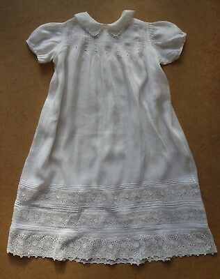Exquisite Vintage Antique Baby Christening Gown Dress Reticella Lace Pintucks