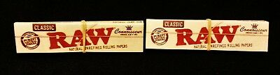 2 Packs Raw Classic Connoisseur King Size Slim Rolling Papers + Tips Free Ship