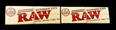 2 Packs Raw Rolling Paper Unrefined Natural Perforated Gummed Tips Free Shipping