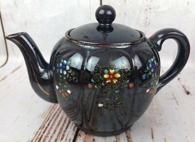 Vintage Japanese Tea Coffee Pot Kettle Floral Flowers Glazed Black Purple Japan