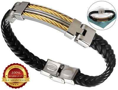 Faux Leather Surfer Bracelet Wristband Mens Braided Stainless Steel Gold Cuff