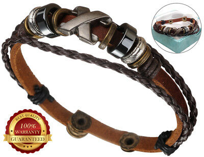 Surfer Faux Leather Bracelet Mens Wristband Rope Braided Button Surf Wrap
