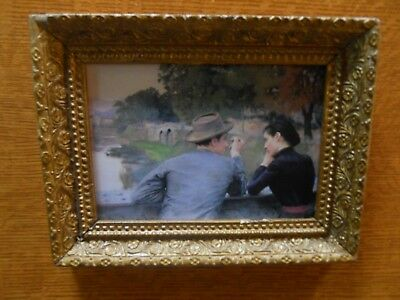 Antique gilt gold frame with Emile Friant print Les Amoureux from Nancy