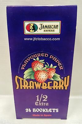 24X Jamaican Strawberry Flavored 1.5 Gummed Cigarette Rolling Papers 33 Per Pack