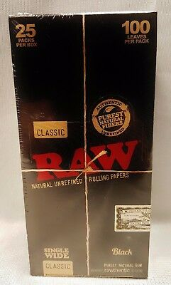 25 Packs Raw Black Single Wide Natural Unrefined Rolling Papers 100 Leaves Per