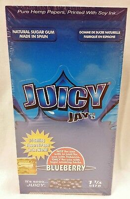 2X Box JUICY JAY'S  1 1/4 Rolling Papers Blueberry 48 Packs Free Shipping