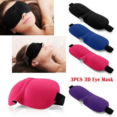 3PCS 3D Eye Mask Sleep Soft Padded Shade Cover Travel Relax Sleeping Blindfold