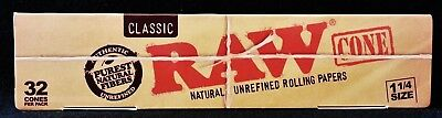 2X Raw Classic Natural Unrefined 1 1/4 Pre-Rolled Rolling Paper Cones 32 Per Box