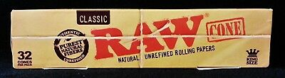 2x Raw Classic Natural Unrefined King Size PreRolled Rolling Paper Cones 32 Per
