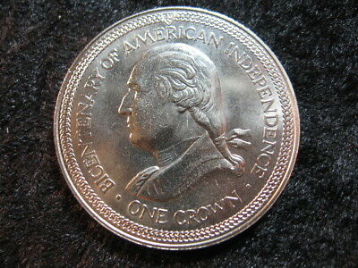 "1 large world ""crown"" coin ISLE OF MAN 1976 KM37 Washington USA Bicentennial"