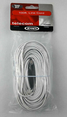 100 FT Telephone Line Cord Premium Quality Telecomp Phone Replacement White d1