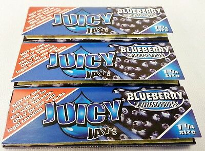 3 Packs Blueberry Flavor JUICY JAY'S  1 1/4 Cigarette Rolling Papers Free Shi