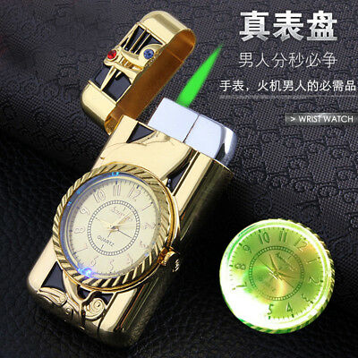 Cool Men Quartz Watch Metal Windproof Jet Torch Gas Butane Lighter Dolphin Gift
