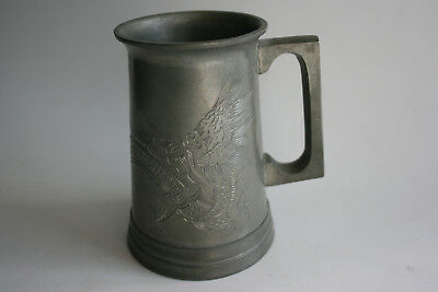 Antique/Old Chinese Pewter Engraved Dragon Big Cup with Glass Bottom Marks
