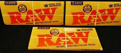 3 Packs Raw Classic King Size Supreme Natural Unrefined Rolling Papers Free Ship