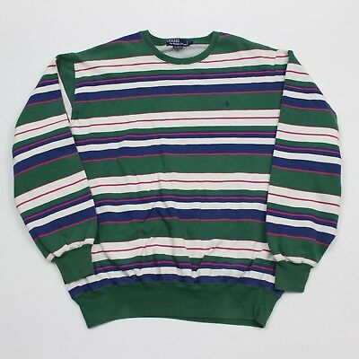 VTG 90s Polo Ralph Lauren Stripe Pony Color Block Sweatshirt Hip Hop Men's Large