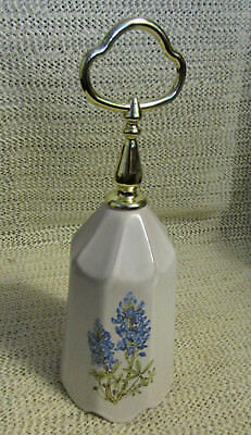 "#2...frankoma Pottery.. 7.5"" White With Texas Bluebonnets Bell"