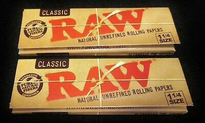 4 Packs Raw Classic 1 1/4 Natural Unrefined Cigarette  Rolling Papers Free Ship