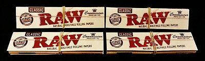 4 Packs Raw Classic Connoisseur King Size Slim Rolling Papers + Tips Free Ship
