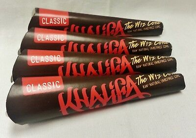 """4X RAW 1 1/4 SIZE """"THE WIZ CONE"""" KHALIFA Prerolled Rolling Paper 24 Total"""