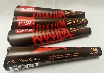 """4X Raw King Size """"THE WIZ CONE"""" KHALIFA Prerolled Rolling Paper Cones 12 Total"""