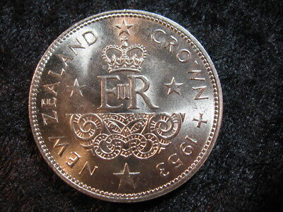 1 large world coin NEW ZEALAND crown KM30 1953 low mintage FREE S&H