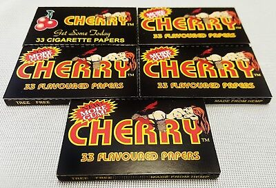5 Packs Cherry Flavored Gummed Cigarette Rolling Papers 33 Leaves Per Pack