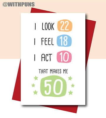 50th Birthday Card For Mum Dad Friend Sister Brother Best Funny