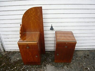 2 Art Deco Bedside cabinets Nightstands Walnut glass tops - London Delivery