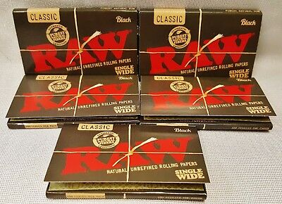 5 Packs Raw Black Single Wide Natural Unrefined Rolling Papers 100 Leaves Per Pk