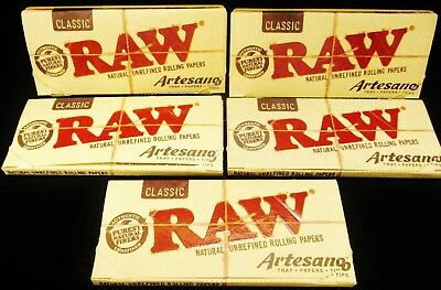 5 Packs Raw Classic Artesano King Size Slim Unrefined Rolling Papers Tips & Tray