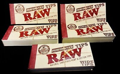 5 Packs RAW Wide Perforated Natural Unrefined & Cotton Tips (250 Total)