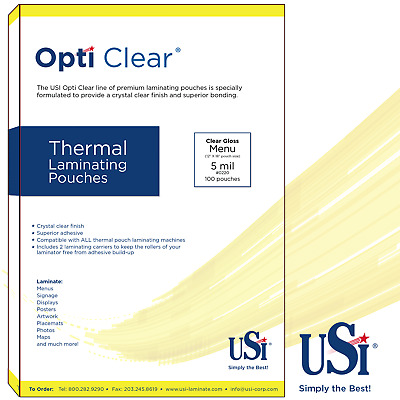 "Opti Clear Thermal (Hot) Laminating Pouches Menu Size 5 Mil 12x18"" 100 Pouches"