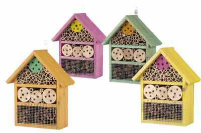 Large Wooden Insect Bee Hive Garden Nesting Box House Natural Wood Shelter New