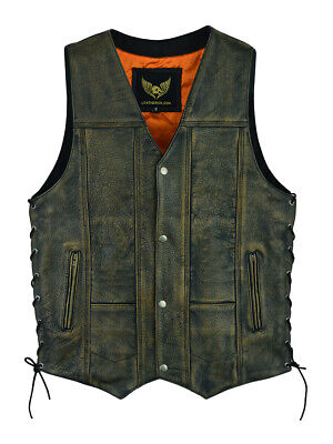 Leatherick 10 pocket distressed brown vintage biker leather waistcoat vest