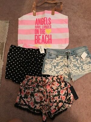 Lot Of 4 Shorts Plus Victorias Secret Tote Small S New Nwt Forever 21 Necessary