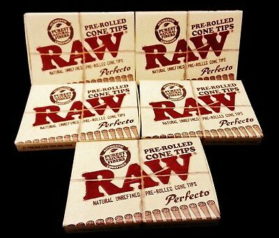 5X Raw Natural Unrefined Perfecto Pre-Rolled Cone Tips 21 Per Pack Free Ship