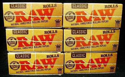 6 Boxes of Raw Classic King Size Natural Unrefined 3 Meter Rolls Rolling Papers