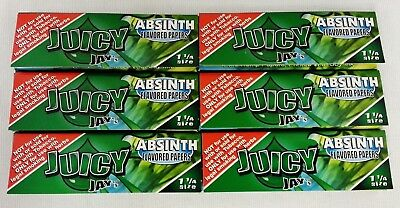 6 Packs JUICY JAY'S  1 1/4 Rolling Papers Absinth Free Shipping