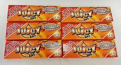 6 Packs JUICY JAY'S  1 1/4 Rolling Papers Peaches & Cream Free Shipping