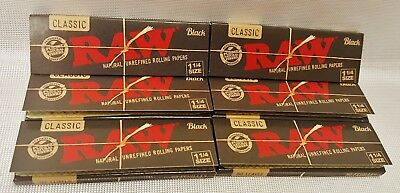 6 Packs Raw Black 1 1/4 Natural Unrefined Rolling Papers 50 Leaves Per Pack