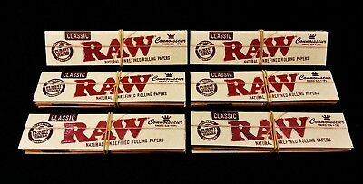 6 Packs Raw Classic Connoisseur King Size Slim Rolling Papers + Tips Free Ship