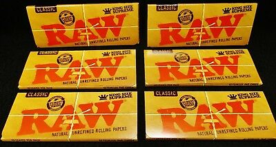 6 Packs Raw Classic King Size Supreme Natural Unrefined Rolling Papers Free Ship