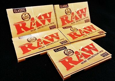 6 Packs Raw Natural Unrefined Single Wide Cigarette Rolling Papers