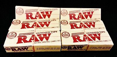 6 Packs Raw Rolling Paper Unrefined Natural Perforated Gummed Tips Free Shipping