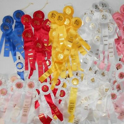 117 AWARD RIBBONS Blue-Red-Yellow-White-Pink HORSE SHOW ROSETTES Event LARGE LOT