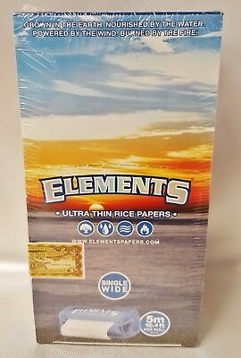 Box of 10 Elements 5 Meter Single Wide Ultra Thin Rice Rolling Paper Roll 16.4'