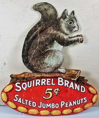 Squirrel Brand 5¢ Five Cents Jumbo Salted Peanuts Nuts Heavy Duty Metal Adv Sign